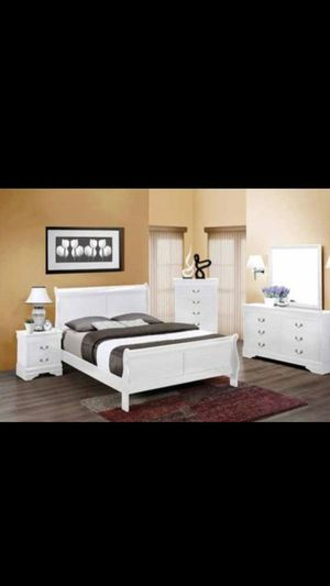 New 4pc. Bedroom Set........$450.....queen sleigh bed frame, dresser, mirror, and nightstand........add the tall chest-$175........... for Sale in Glendale, AZ