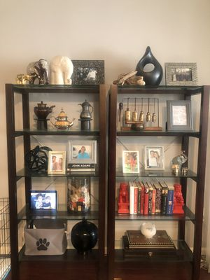2 Wood and glass bookshelves for Sale in Washington, DC