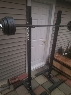 Rouge squat/bench stands. Olympic barbell. Weights. for Sale in West Chicago, IL