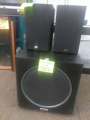 3pc Polk Audio speaker set includes subwoofer for Sale in Tampa, FL