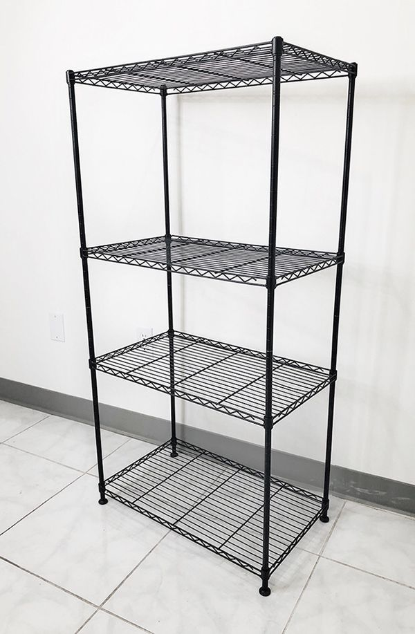 "$35 NEW Small Metal 4-Shelf Shelving Storage Unit Wire Organizer Rack Adjustable Height 24x14x48"""