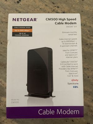 Netgear cable modem 3.0 high-speed CM 500-Works perfectly for Sale in Fort Lauderdale, FL
