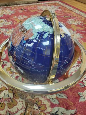 """Gorgeous Brass and Gemstone Globe with Compass 18 """" Inlaid world globe with compass stand for Sale in Brooklyn, NY"""