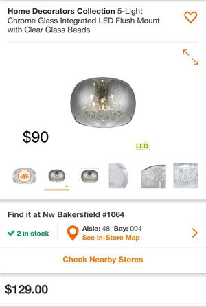 Home Decorators 5 light chrome LED flush mount with clear glass beads for Sale in West Hills, CA