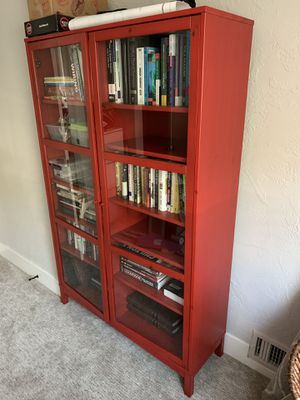 Red bookshelf / bookcase with glass doors for Sale in San Diego, CA