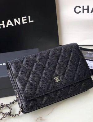Brand new CC Black caviar leather Chanel wallet on chain silver hardware for Sale in El Cajon, CA