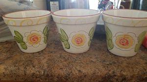 Ceramic flower pots (3) for Sale in Phoenix, AZ