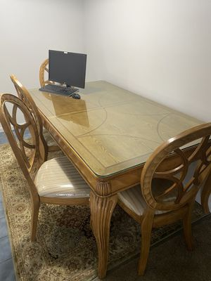 High quality dining table with 6 chair and glass cover please do not asking me to send email I consider it scam only via app for Sale in Mount Pleasant, MI