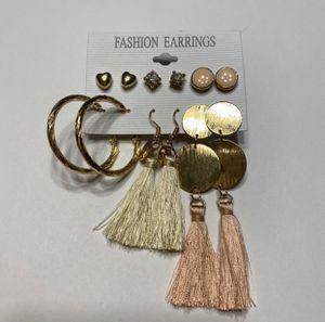 Earring Pack Peach Tassel Gold Hoop Diamond Heart for Sale in Mentor, OH
