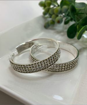 Large Round Circle Bling Hoop Rhinestone Earrings, Silver Color for Sale in Los Angeles, CA