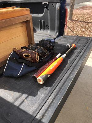 Baseball bats, gloves, and bag for Sale in Henderson, NV
