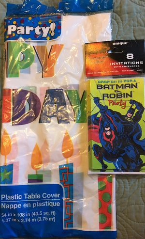Batman Party Invitations and Plastic Tablecloth for Sale in Hemet, CA