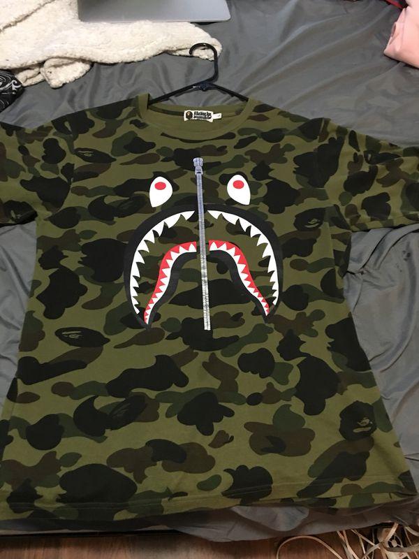 Green camo shark shirt silver zipper