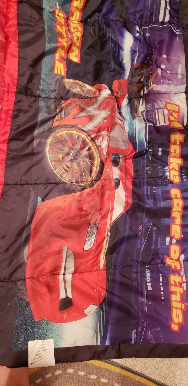 Tent and sleeping bag cars lightening McQueen