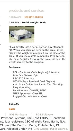 CAS Weight Scale Model PD-1 for Sale in Tempe, AZ