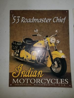 Indian Motorcycle '53 Roadmaster Chief Metal Sign for Sale in McHenry, IL