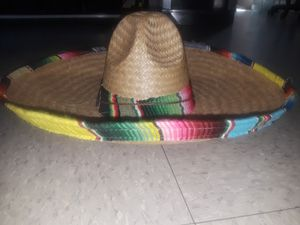 Straw hat with sarape edge for Sale in Bell, CA
