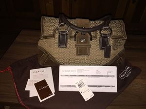 Coach Lg Brown Mini Signature Soho Flap Handbag Style# 3648 W/ Dust Cover & Rcpt for Sale in Peoria, AZ