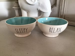 New with Tags RAE DUNN Sleepy & Relax cereal Bowls ARTISAN COLLECTION Never Used for Sale in Diamond Bar, CA