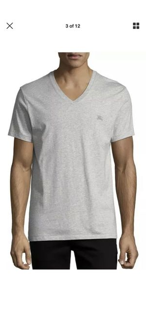 NWT Mens Authentic Burberry Jadford Jersey Logo V-Neck T-Shirt Gray Large $130 for Sale in Buena Park, CA