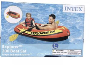 Intex Explorer 200 Inflatable 2 Person River Boat Set with 2 Oars & Pump for Sale in Miramar, FL