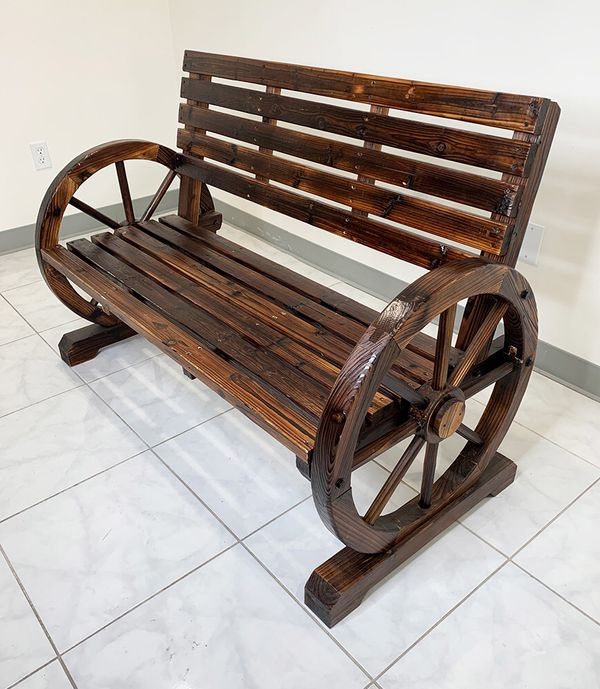 """New $100 Large 50"""" Wooden Wagon Bench Rustic Wheel for Patio Garden Outdoor 50x23x34"""""""