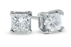 Princess cut 14kt white gold 1/2 kt diamond earrings for Sale in Mt. Juliet, TN