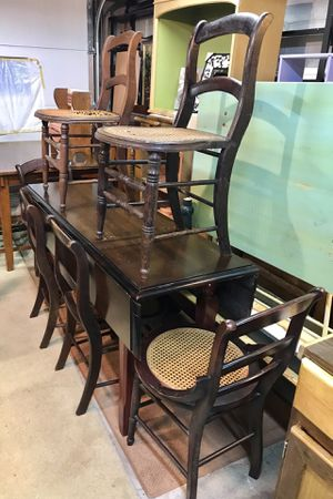 Long, Drop-Leaf Farm-Table with SIX Cane Seat Chairs for Sale in Wichita, KS