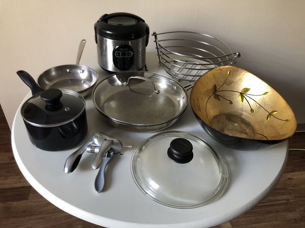 Pots, Pans, Mugs, Slow Cooker, Bowls, Plates, Fruit baskets , Ramekins and more- Kitchen Tools