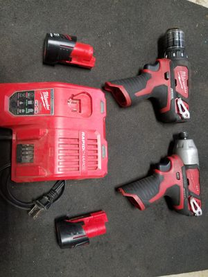 Milwuakee m12 drill&impact w/2 batt.& chrg 130$ for Sale in Stanwood, WA