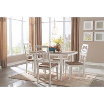 Signature Design By Ashley - Brovada Rectangular Dining Room Table Set of 5 - Contemporary Style - Two-tone for Sale in Wendell, NC