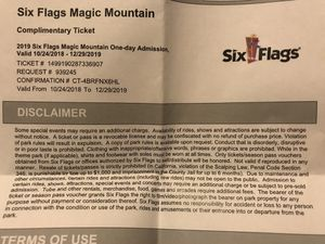 Magic mountain 2 tickets for Sale in Fullerton, CA