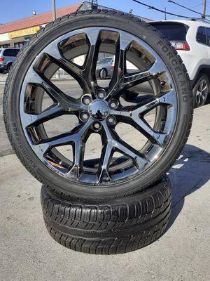 "22"" Chevy Silverado GMC Sierra Wheels & Tires Tahoe Yukon Escalade ((Black-Chrome)) Snowflake II Rims setof4 for Sale in Los Angeles, CA"