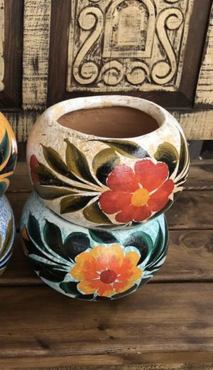 Two Mexican colorful flower clay pots for Sale in Cedar Park, TX