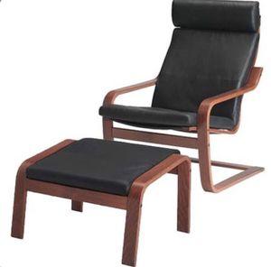 IKEA leather armchair + ottoman for Sale in Sacramento, CA