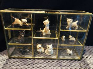 Porcelain Collectible Cats and Kittens in Glass Display Cabinet for Sale in Oviedo, FL