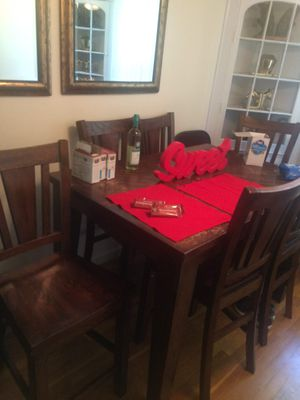 Wooden Table set with 6 high chairs for Sale in St. Louis, MO