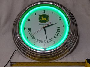 """$35.00 OFFER as of Wednesday Pm ⬅️... ✔️JOHN DEERE ✔️ 14"""" ROUND *GREEN NEON LIGHT* WALL CLOCK ✔️ REAL NICE ✔️ for Sale in Henderson, NV"""