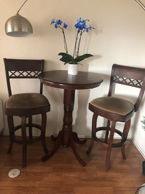 Real wood table and two chairs for Sale in Los Angeles, CA