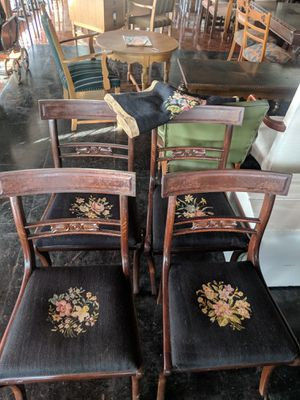 Antique Vintage Chairs Dark Wood Floral Pattern for Sale in Orlando, FL