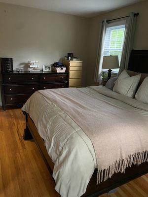 Queen bedroom set - queen platform bed, box spring, mattress, and 6 drawer dresser for Sale in Media, PA