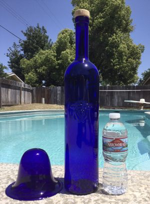 Large Cobalt Blue Glass Bottle w/ Cork ~ Home Decor for Sale in Fresno, CA