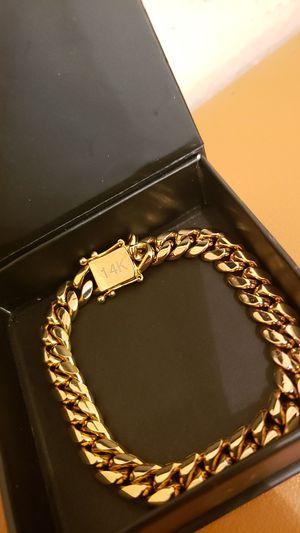 Real 14k Gold Bonded Cuban Link Bracelet for Sale in Dallas, TX