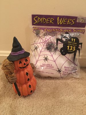 Halloween candle holder & spider webbing for Sale in MONTGOMRY VLG, MD