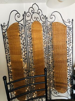Vintage Iron & Bamboo Decorative Room Divider-Sturdy & Beautiful for Sale in Dublin, OH