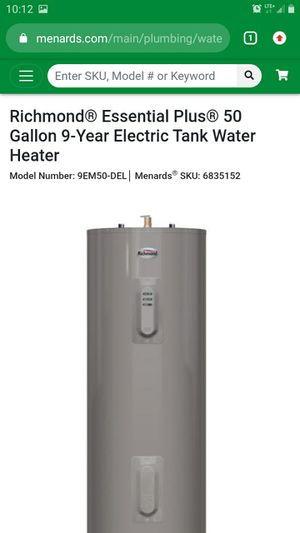 Richmond electric hot water heater 50 gallon for Sale in Pleasant Hill, IA