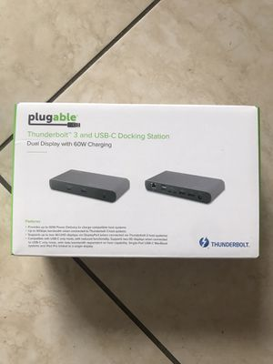 Plugable TBT3-UDC1 Thunderbolt and USB-C Docking Station for Sale in Miami, FL