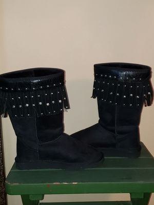 Black fringe and silver studded size 8 Wide Boots Gently worn for Sale in Littleton, CO
