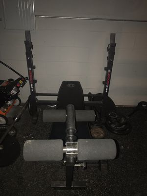 Legacy weight lifting bench with Olympic weights for Sale in Bartlett, IL