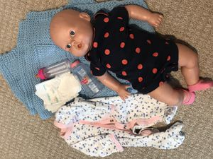 Baby doll with unique accessories for Sale in Foster City, CA